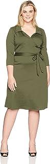 Star Vixen womens Plus-size Str Ponte Classic Fauxwrap Dress W Collar Dress