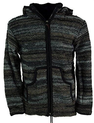 GURU SHOP Chaqueta de lana de Nepal, chaqueta batik, negro, para hombre, modelo 24, lana, talla: S, chaqueta, cárdigan de punto, ponchos, alternativa