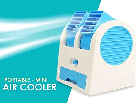 MICMAC Mini USB Fragrance Air Conditioner Cooling Fan Cooling Portable Desktop Dual Bladeless Air Cooler (Color May vary)