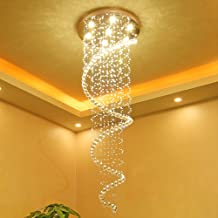 Long Crystal Chandelier, Stair Chandelier, Duplex Building, Modern and Simple European-Style Rotating Villa Building, Stai...