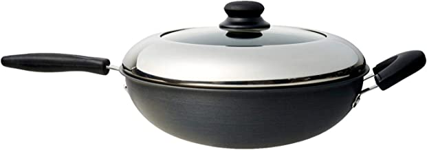 Dolphin Collection 3A1632HA Hard Anodized Stir-Fry Wok With Lid (One Long Handle And One Side Handle), 32cm