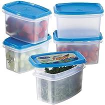 Primeway Polypropylene Space Savers Oblong Food Containers, 750ml, 5 Pcs, Blue