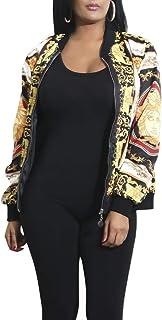 AEL Women`s Baseball Biker Bomber Jacket Long Sleeve Zip up Printed Casual Short Coat
