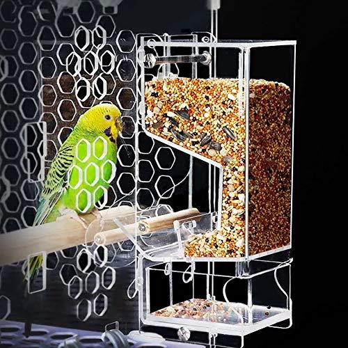NZHK Comederos para Pajaros, Casa Grande del Pájaro Alimentador Automático Extraíble con Deslizó Bandeja De Semillas 100% Acrílico para Up-Close, Observación De Aves Cubierta