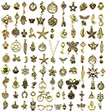 JIALEEY 300 PCS Wholesale Bulk Lots Jewelry Making Charms Mixed Smooth Tibetan Silver Alloy Charms Pendants DIY for Necklace Bracelet Jewelry Making and Crafting