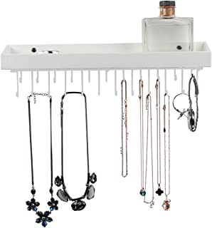 JACKCUBE DESIGN Hanging Jewelry Organizer Necklace Hanger Bracelet Holder Wall Mount Necklace Organizer with 23 Hooks(White, 16.38 x 4.88 x 2.93 inches, Unseparated) - :MK208C