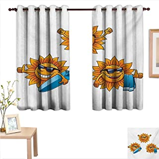 MartinDecor Cartoon Customized Curtains Surf Sun Characters Wearing Shades and Surfboards Fun Hippie Summer Kids Design 63