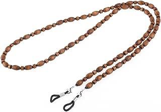 BESTOYARD Eyeglass Chain Holder Strap Cord Wood Bead Chain Neck Holder, Brown, Medium