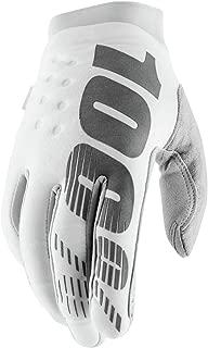100% Brisker Men's Off-Road Motorcycle Gloves - White/Silver/Medium