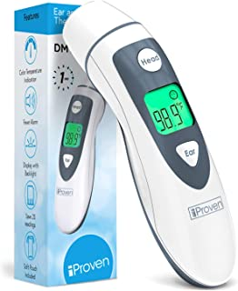 iProven DMT-489 Forehead and Ear Thermometer - Digital Infrared No Contact Thermometer for Adults, Kids and Baby - FSA or HSA Eligible - Color Fever Alarm - 1 Second Temporal, Head and Ear Readings
