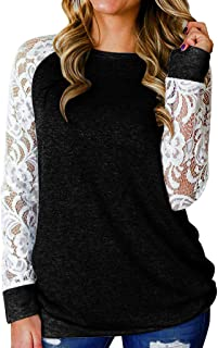 Severkill Women's Casual Cute Shirts Lace Sleeve Patchwork Crew Neck Tops Basic Long Sleeve Soft Blouse