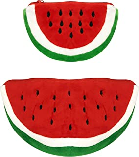 ALLYDREW Plush Fruit Pencil Pouch (Set of 2), Red Watermelon Coin Purse Pouches