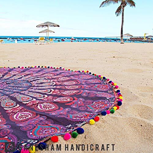 GANESHAM HANDICRAFT Baumwolle Wand hängenden Tapisserie Home Decor Yoga Matte Runde Tapisserie Strand Roundie Beach Throw Beach Dekor Tischdecke (Violett)