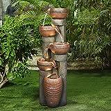 WATURE Fuente de jardín al aire libre – 101 cm 5 urnas de agua para interior y exterior con luces, resina fibra de vidrio de cascada de agua independiente, características de sonidos relajantes