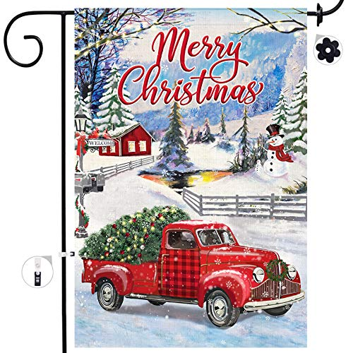 Bonsai Tree Christmas Garden Flag, Vintage Red Truck with Christmas Tree Double Sided Burlap House Flags 12x18 Prime, Merry Christmas Winter Farmhouse Welcome Yard Signs Gifts for Home Outdoor Decor