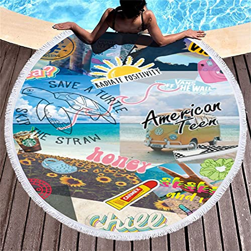 Toalla De Playa Redonda con Impresión Digital De Dibujos Animados, Alfombra De Playa De Microfibra, Manta De Playa De Secado Rápido A Prueba De Arena, Alfombra De Picnic 150 * 150cm