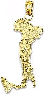14k Yellow Gold Italy Map Pendant Charm