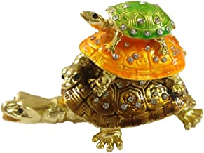 Divya Mantra Feng Shui Metal Bejeweled Wish Fulfilling Three Tier (Triple)Tortoise with 3 Secret Magnetic Compartments Box...