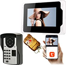 Tuya Smart WiFi-videodeurbel, 7-inch monitor + 1080P nachtzichtbeveiligingscamera, videodeurtelefoon, intercom, vingerafdr...