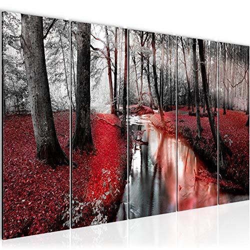 Runa Art Cuadro XXL Bosque paisaje 200 x 80 cm Rojo 5 Piezas - Made in Germany - 602355b