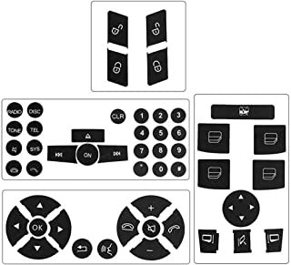 Steering Wheel & Window Switch & Door Lock Switch & Radio Button Stickers for 2008-2014 Mercedes Benz W204 C250 C300 C350 E-Class ML GL GLK
