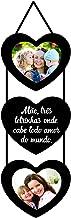 Porta Retratos Corações Mae Três Pontinhos Para 2 Fotos 10x10cm Kapos Preto