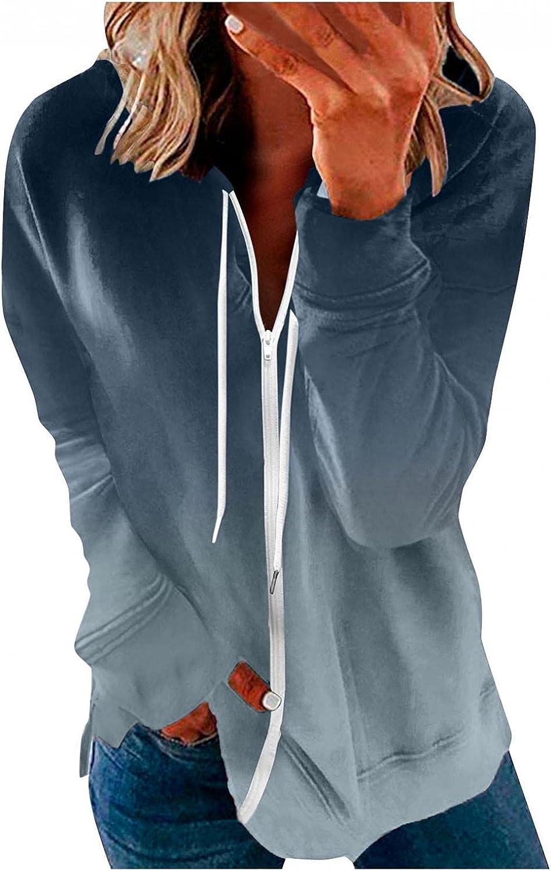 Jaqqra Hoodies for Women Long Sleeve Gradient Zip Up Sweatshirt Loose Pullover Shirts Activewear Jacket with Pocket