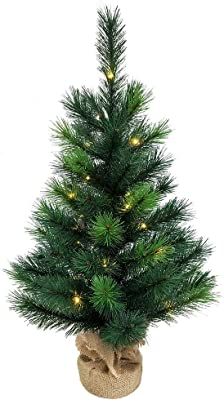 Kurt S. Adler 2.5-Foot Battery-Operated Miniature Pine Christmas Tree, Multi