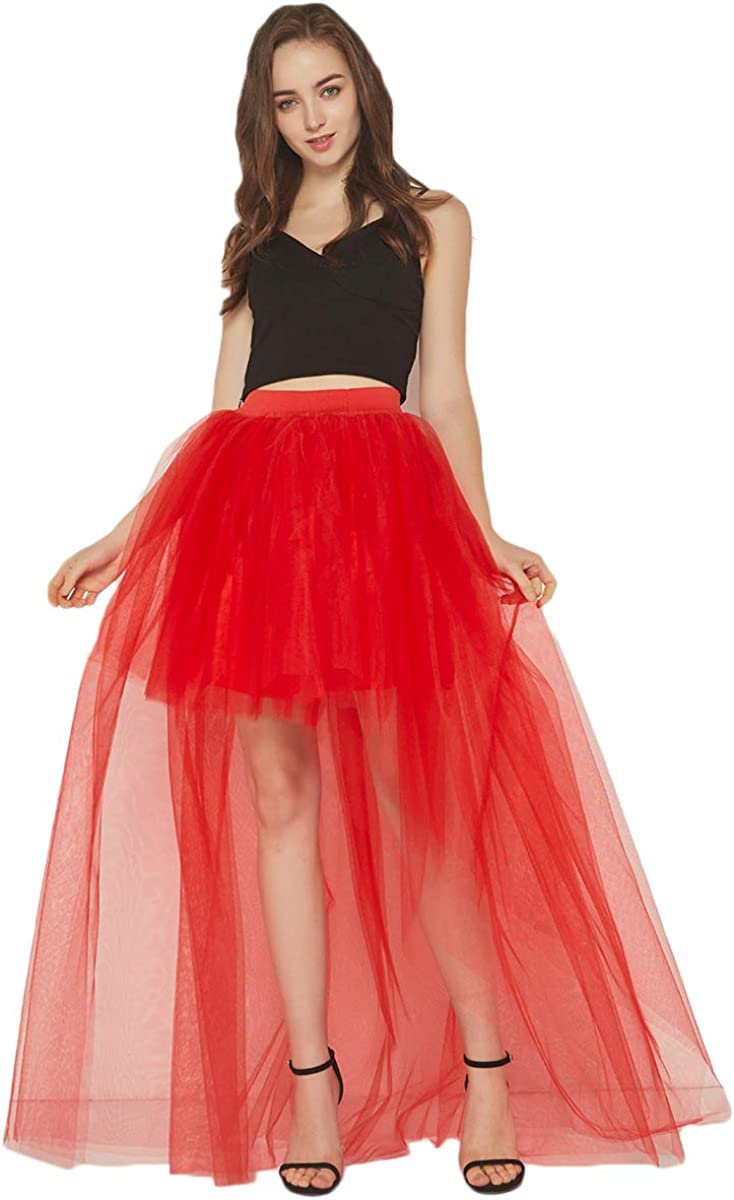Women's Black Tulle High Low Princess Prom Party Special Occasion Skirt SK03
