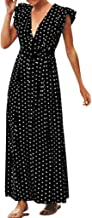Big Wintialy Womens Boho Long Dress Polka Dot Ruffle Sleeveless V-Neck Party Evening Sundress