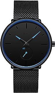 Reloj de pulsera para hombre, ultradelgado, minimalista, resistente al agua, moderno, unisex, con correa de malla de acero inoxidable