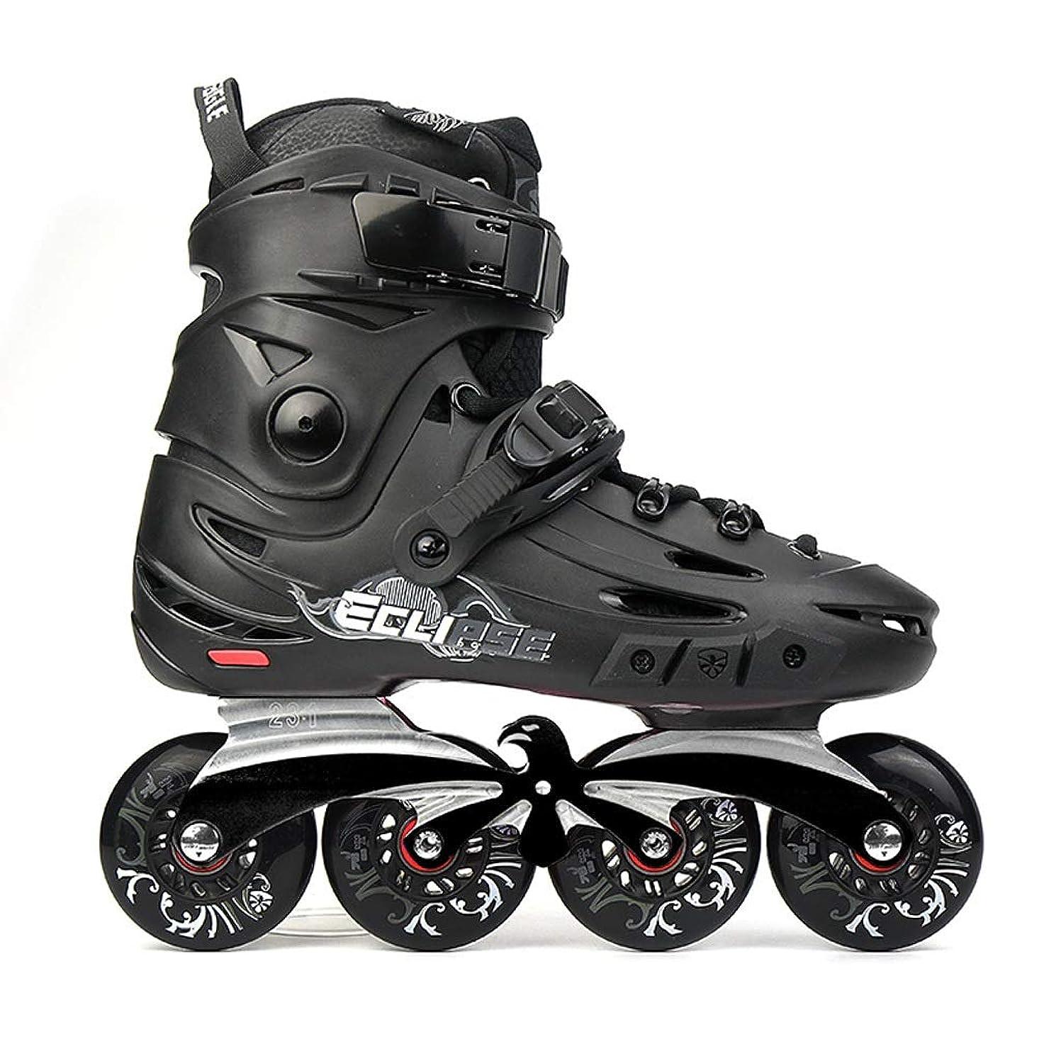 誇張するみなさん指導するインラインスケート 男性および女性のインラインスケート、初心者用通気性およびウェアラブル多目的屋外用単列スケート、黒 ローラースケート Inline skate (Color : Black, Size : EU 36/US 4.5/UK 3.5/JP 23cm)