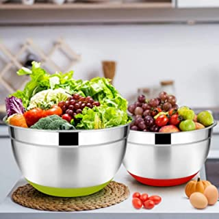 BIIB 2 Pack Mixing Bowls with Airtight Lids, Colorful Stainless Steel Metal Nesting Bowls for Kitchen, Non-Slip Silicone B...