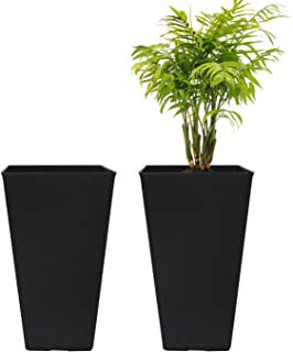 LA JOLIE MUSE Tall Planters 20 Inch, Flower Pot Pack 2, Patio Deck Indoor Outdoor Garden Tree Planters (Black)
