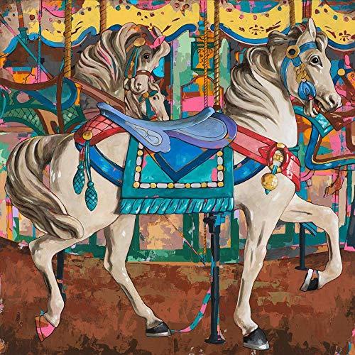 nanxiaotian diamantschilderij 5D DIY volle diamant ronde diamant lopend paard 40X40cm strass borduurwerk kruissteek mozaïek kunst decoratie kind geschenk