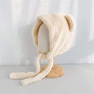 SHENTIANWEI Autumn and Winter Korean Cute Fluffy hat Lei Feng Cap Cartoon Leather Grass Thick Pure Color with pots hat Female Tide (Color : Beige, Size : One Size)