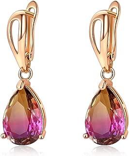 Monochrome Bi-Color Imitation Tourmaline Crystal Teardrop Earrings for Women