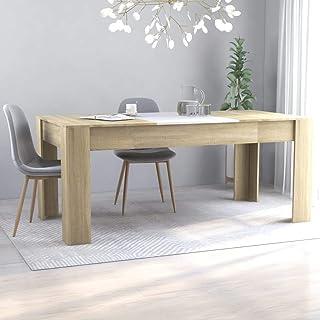 vidaXL Table de Salle à Manger Table à Dîner Table de Cuisine Table de Repas Meuble à Manger Maison Intérieur Blanc et Chê...