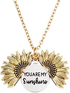NEOMARA Sunflower Locket Engraved Necklace - You are My Sunshine Letter Pendant Necklace - Great for Mom, Sister, Wife, Girlfriend and Daughter