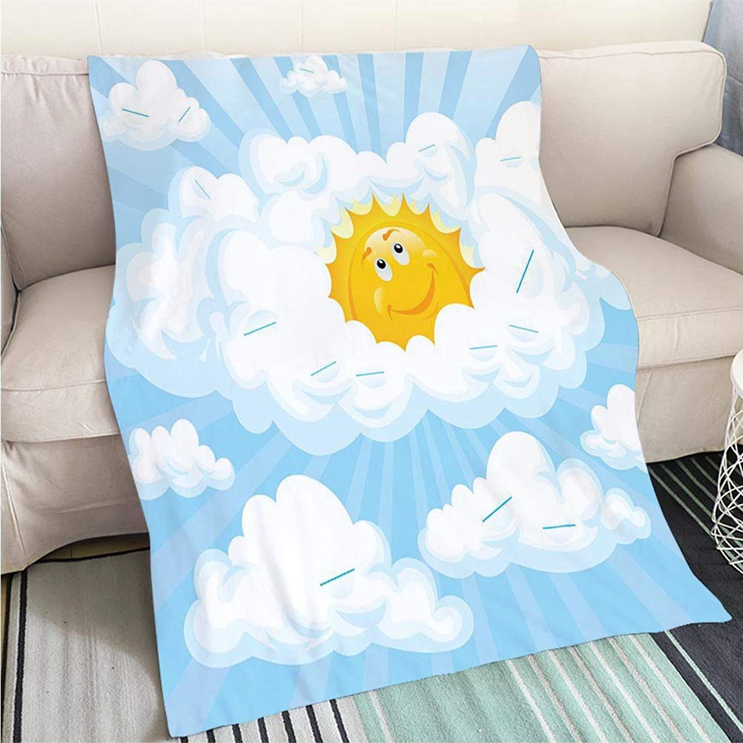 BEICICI Creative Flannel Printed Blanket for Warm Bedroom Sun peaking Through Clouds Sofa Bed or Bed 3D Printing Cool Quilt