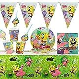 Yisscen Set di stoviglie per Feste, Decorazioni di Compleanno per Bambini, Spongebob Bambini Feste di Compleanno, Tazze, tovaglioli, Piatti, tovaglie, cannucce, gagliardetti