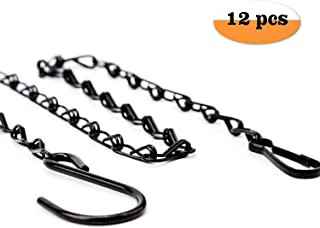 LUTER 12 Pack 22.4 Inches Decorative Hanging Chains Black Hook Chains Mental Chain Hanger for Bird Feeders,Planters,Lanterns,Wind Chimes,Billboards, Chalkboards and More,Indoor and Outdoor Use