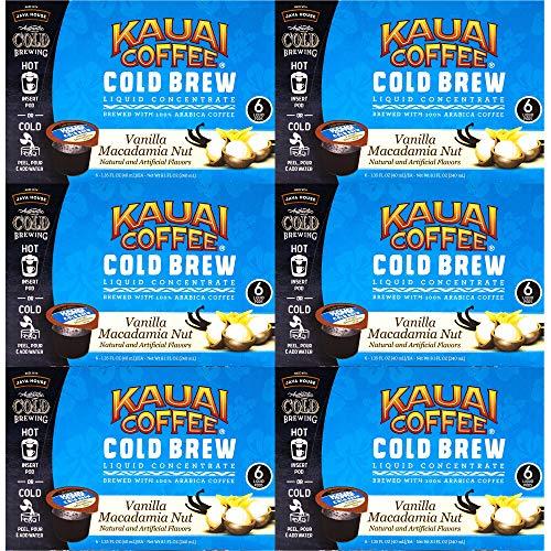 JAVA HOUSE Cold Brew Coffee Concentrate Liquid Pods - 1.35 Fluid Ounces- Enjoy Hot Or Iced (Kauai Vanilla Macadamia Nut, 36 Count)