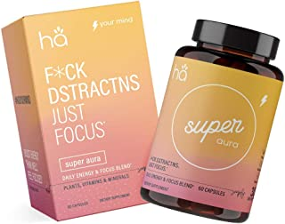 Super Aura: Natural Focus and Energy Booster Pills - Study, Focus, Memory & Concentration - Nootropic for Men and Women - DMAE, Bacopa, Green Tea, Tyrosine, B6, Huperzine A (60 ct)
