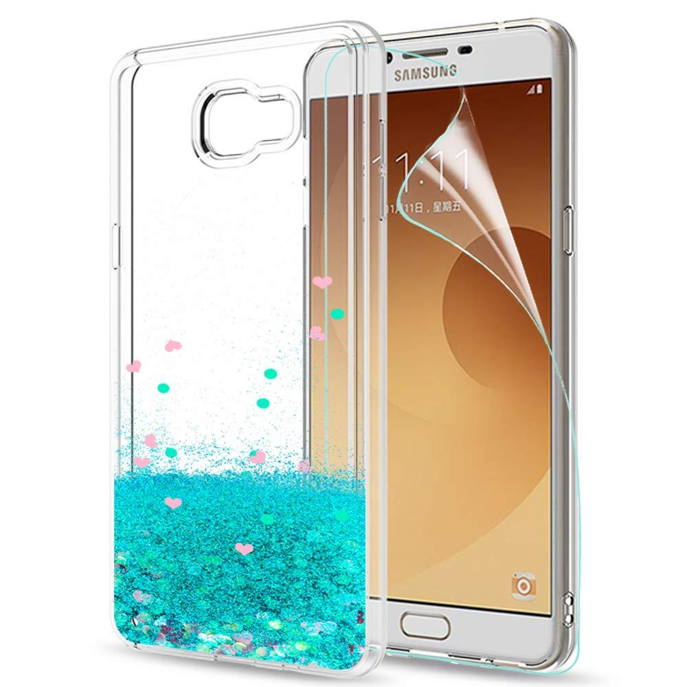 LeYi Compatible con Funda Samsung Galaxy C9 Pro Silicona Purpurina Carcasa con HD Protectores de Pantalla,Transparente Cristal Bumper Telefono Gel TPU Fundas Case Cover Para Movil C9 Pro Turquoise: Amazon.es: Electrónica