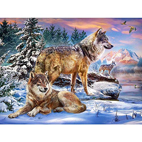 Wolf 5d diamond painting kit full drill Taladro redondo cuadrado completo 5D DIY Diamante Pintura Animal lobo Bordado mosaico rhinestone Kit de punto de cruz Snow wolf icon@60x75cm