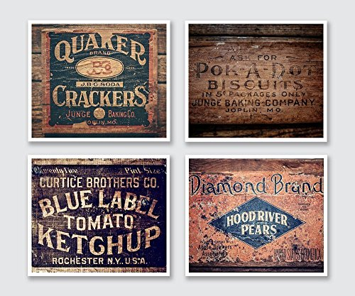 Country Farmhouse Kitchen Decor Print Set of 4
