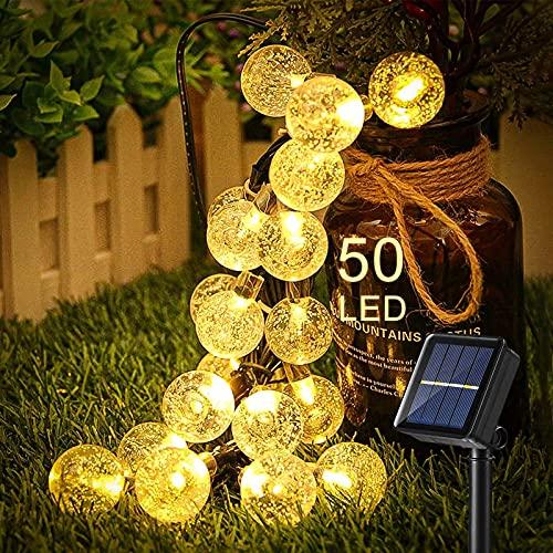 otutun Catena Luminosa Solare , Catena Luminosa a LED a energia Solare 8M 50LED Catena di luci a LED a energia Solare,Luci Stringa Solare IP65 Impermeabile 8 modalità per Giardino,Patio (Bianco Caldo)