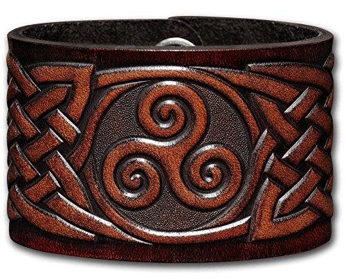 Hoppe & Masztalerz Lederarmband geprägt 48MM aus Vollrindleder Keltische Triskele mit Keltischen Knoten (7) braun-antik mit Druckknopfverschluss (nickelfrei) (19 Zentimeter)