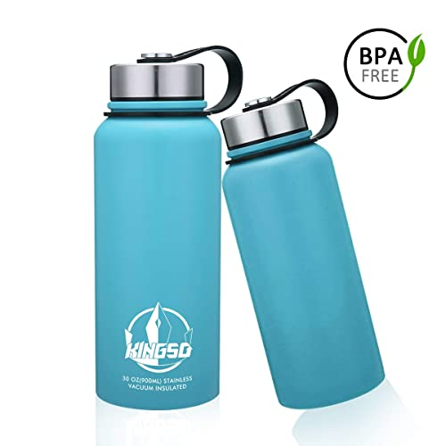 e854957d43 KINGSO Vacuum Insulated Stainless Steel Water Bottle 32 oz Wide Mouth  Double Wall Sports Water Bottles